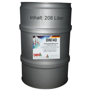 0W/40 DBV fully synthetic engine oil 208 liter barrel