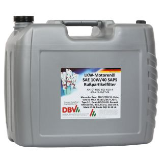DBV truck engine oil SAE 10W/40 SAPS for soot particle filter 20 liter canister