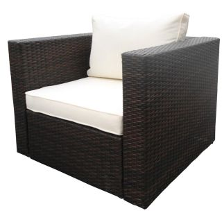 Rattan Wicker Garden Single Sofa NJ mixed brown Outdoor Lounge Furniture Couch