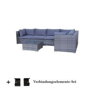 Poly Rattan Gartenmobel Palma Mix Grau Tisch Alu Garnitur Lounge Garten Sitzgruppe Gartenset
